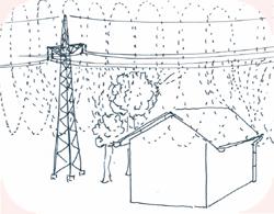 Der Effekt von Hochspannungsleitungen in Gebäudenähe